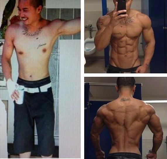 健身前后肌肉对比照